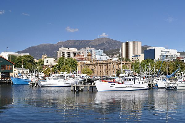 Hobart waterfront and Mt Wellington