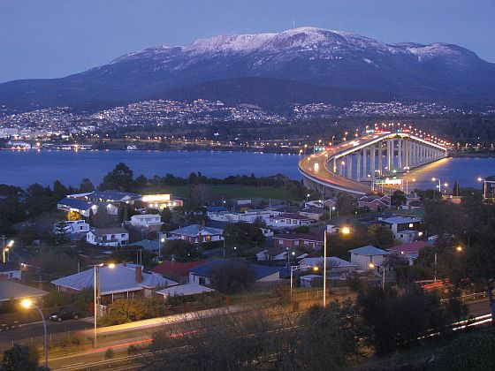 Mt Wellington towering over the city of Hobart