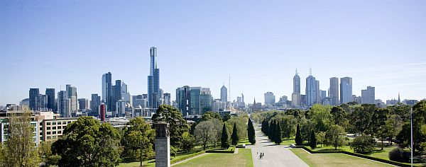 View of Melbourne's skyline from the Shrine of Rememberance