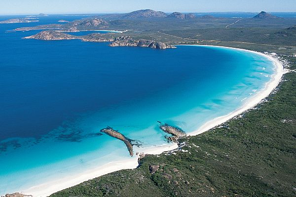 Aerial view of Lucky Bay, located in the Cape Le Grand National Park
