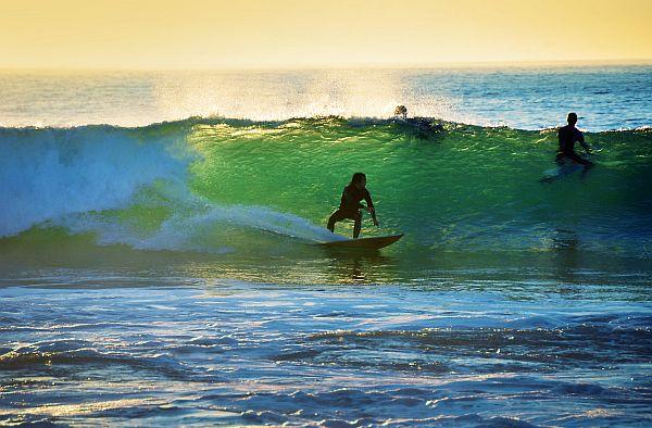 Surfing at Pondalowie Bay