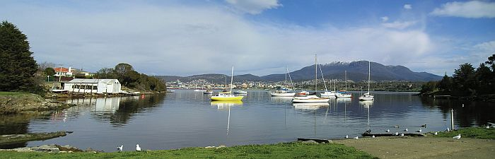 Snow capped Mt Wellington behind the city of Hobart