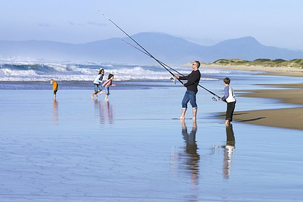 Fishing on the beach at St Helens Point