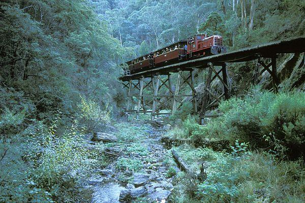 Train on the Walhalla Goldfields Railway, West Gippsland