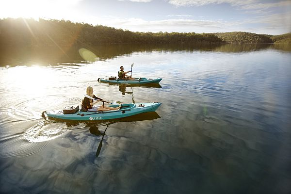 Couple kayaking the Gippsland lakes