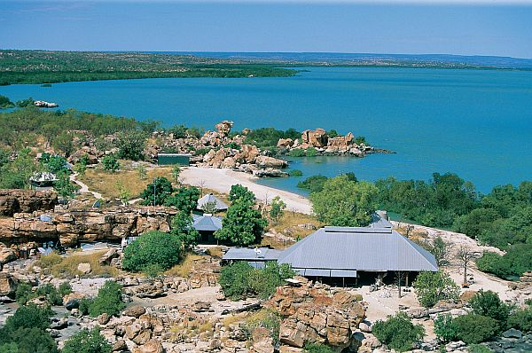 Aerial view of the Kimberley Coastal Camp, overlooking Admiralty Gulf