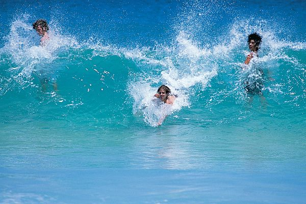 Surfing action at Cottesloe Beach