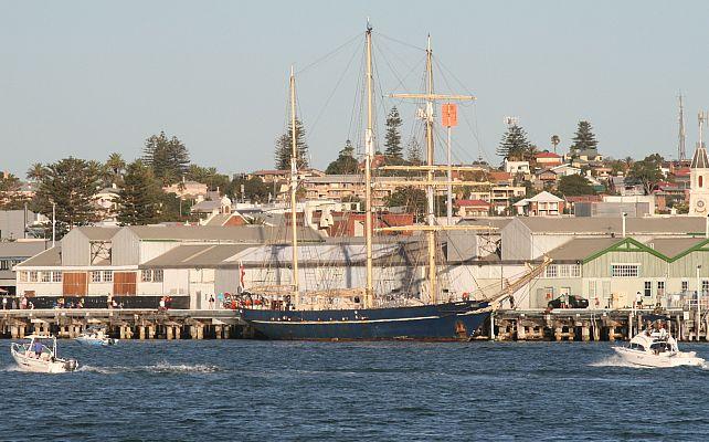Tall ship Leeuwin II berthed in Fremantle Harbour